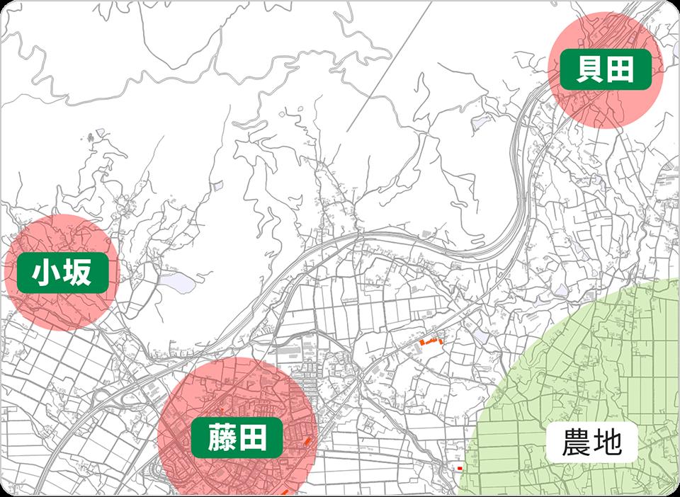 国見町のエリア地図